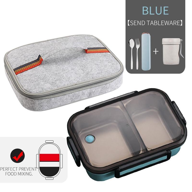 WORTHBUY японский Ланч-бокс для детей школы 304 из нержавеющей стали бенто Ланч-бокс герметичный контейнер для еды детская коробка для еды - Цвет: A Blue Bag Cup Set