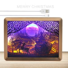 Christmas 3D Night Lamp Paper Pattern Painting LED Table Desk Box Frame