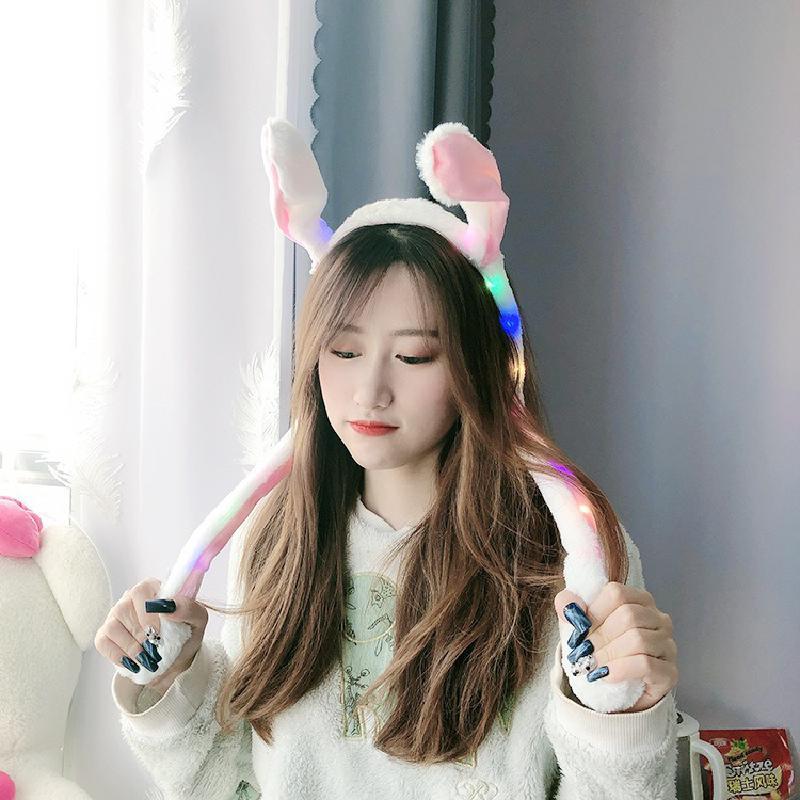 Kawaii Toy Creative New Plush Will Shine Plush Glowing Rabbit Ear Hat Rabbit Ear Headband  Gentle Rabbit Cap Gifts for Children