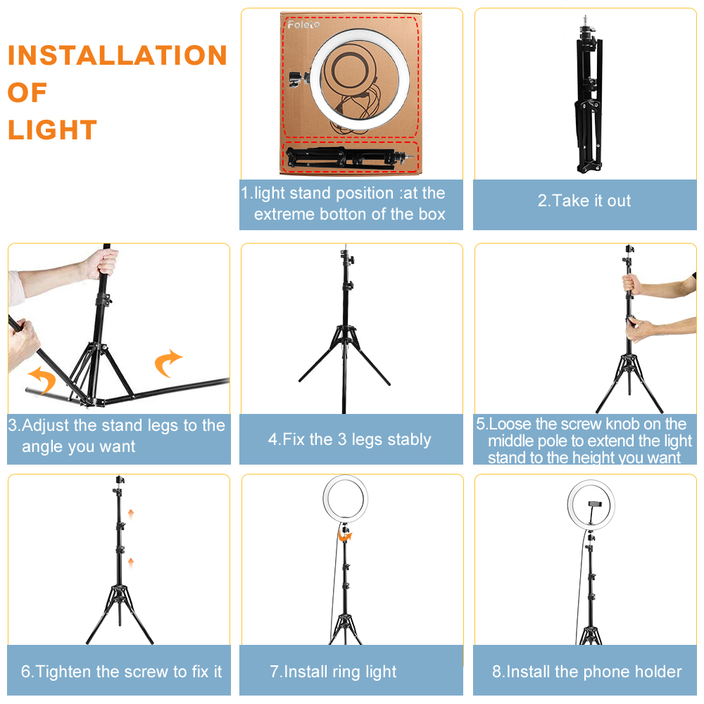 Rovtop 10 Inch Selfie Ring Light with Ring Stand for iPhone Tripod and Phone Holder for Video Photography 23