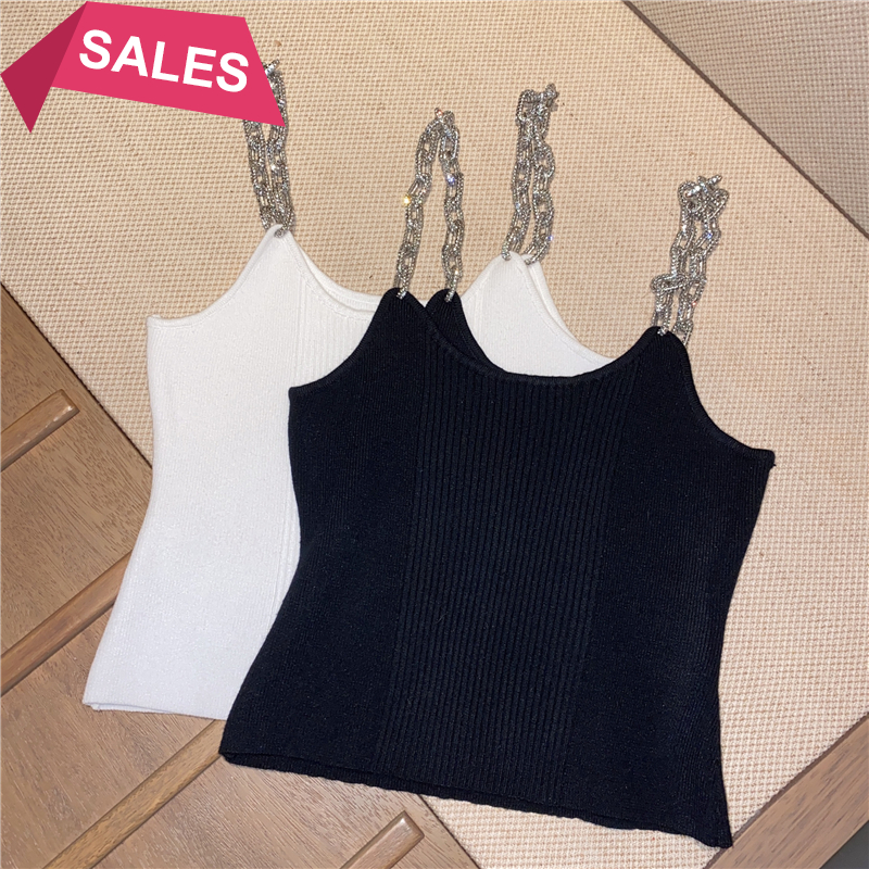 Autumn and winter new style foreign style niche design small shirt Rhinestone sling tight short knitted vest top female