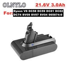 Para dyson 21.6v 3000mah bateria de substituição e carregador para dyson aspirador sv09 sv07 sv03 dc58 dc61 dc62 dc74 v6 965874-02