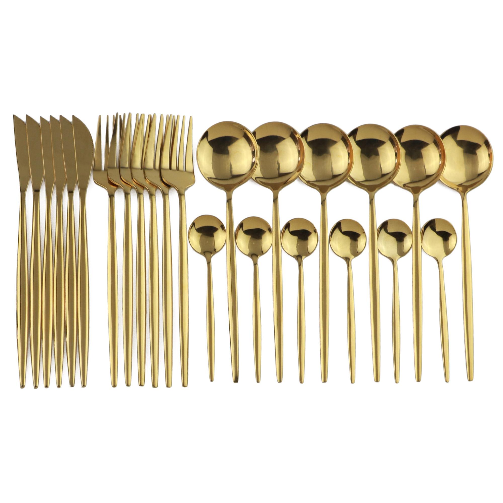 24 adet altın yemek takımı seti ayna paslanmaz çelik çatal bıçak bıçak seti çatal kahve kaşığı sofra takımı seti bulaşık makinesi güvenli çatal bıçak kaşık seti