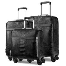 цена на Luxury Travel Suitcase set Rolling PU Luggage Women Trolley case Man boarding box carry on Wheels Travel Bag laptop handbag