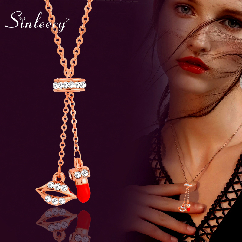SINLEERY Lip and Red Lipstick Colgante ajustable Collar Color oro rosa Tiny Crystal Inlay Collar llamativo Joyería XL611