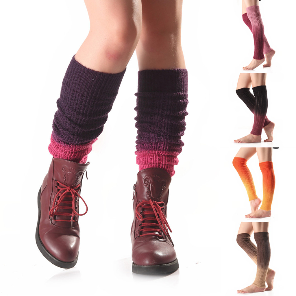 Women Mixed Color Woollen Long Over Knees Leg Warping Knitted Boot Cover Socks
