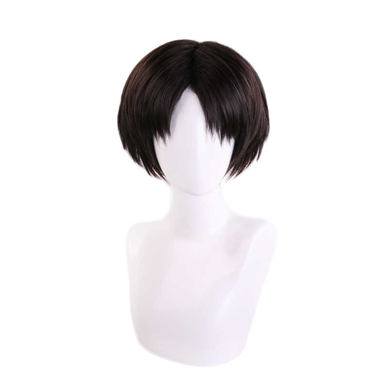 Attack on Titan Levi Ackerman Rivaille Black Brown Short Wig Cosplay Costume Heat Resistant Synthetic Hair Halloween Party Wigs
