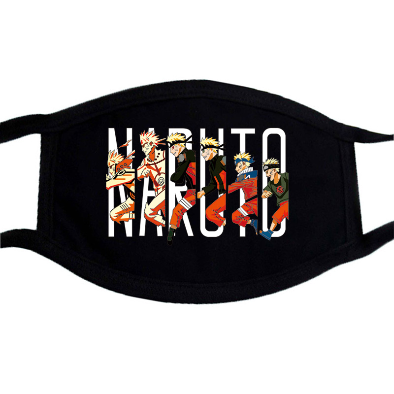 Naruto Black Mask Hip Hop Dustproof Unisex Cotton Winter Warm Mask Face Anime Print Washable Mouth-Muffle Cartoon Funny Masks