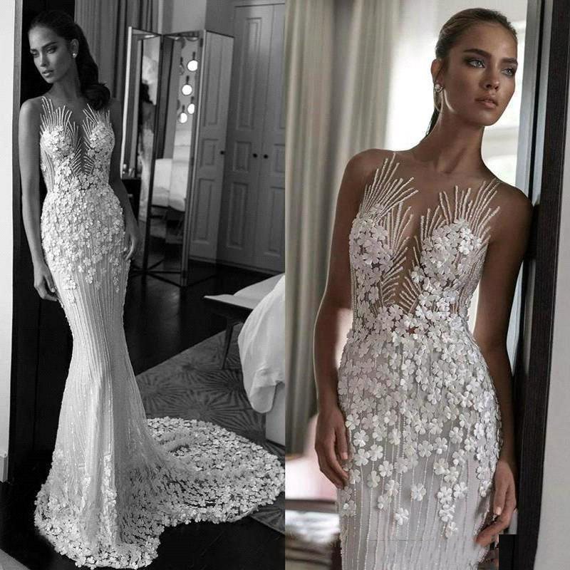 2020 Eleagnt Lace Appliqued Wedding Dresses Luxury 3D Flowers Sheer Back Beach Boho Bridal Gown Custom Made Robe De Mariee