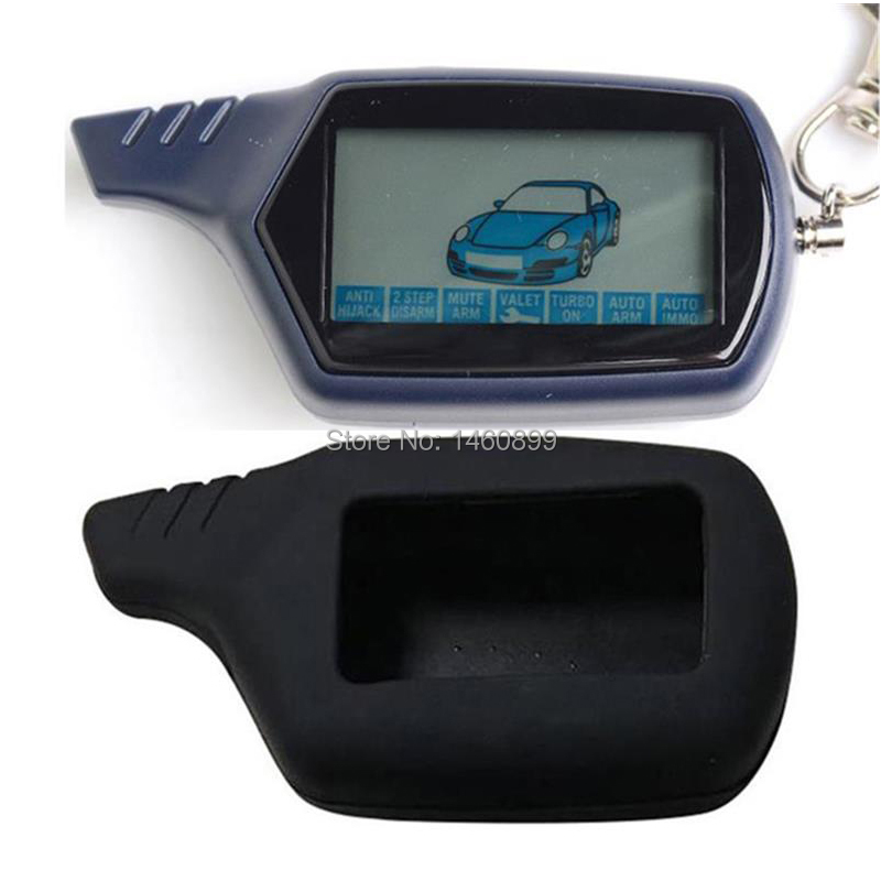 B6 LCD Remote Control Key Chain + Silicone Cover Key Case For Russian Version Twage Starline B6 Keychain 2 Way Car Alarm System