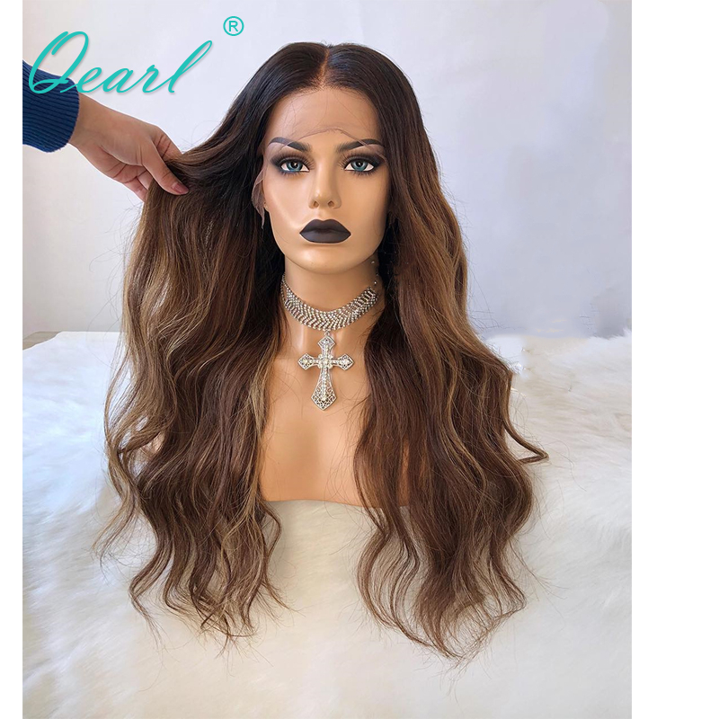 Human Hair Full Lace Wig With Baby Hair Ombre Highlights Body Wave Glueless Brazilian Remy Hair Wigs For Women Pre Plucked Qearl
