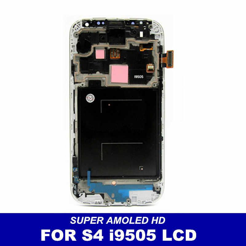 عالية الجودة سوبر AMOLED شاشات lcd لسامسونج غالاكسي S4 i9505 شاشات Lcd عرض شاشة رقمية تعمل بلمس مع الإطار الحافة الجمعية استبدال
