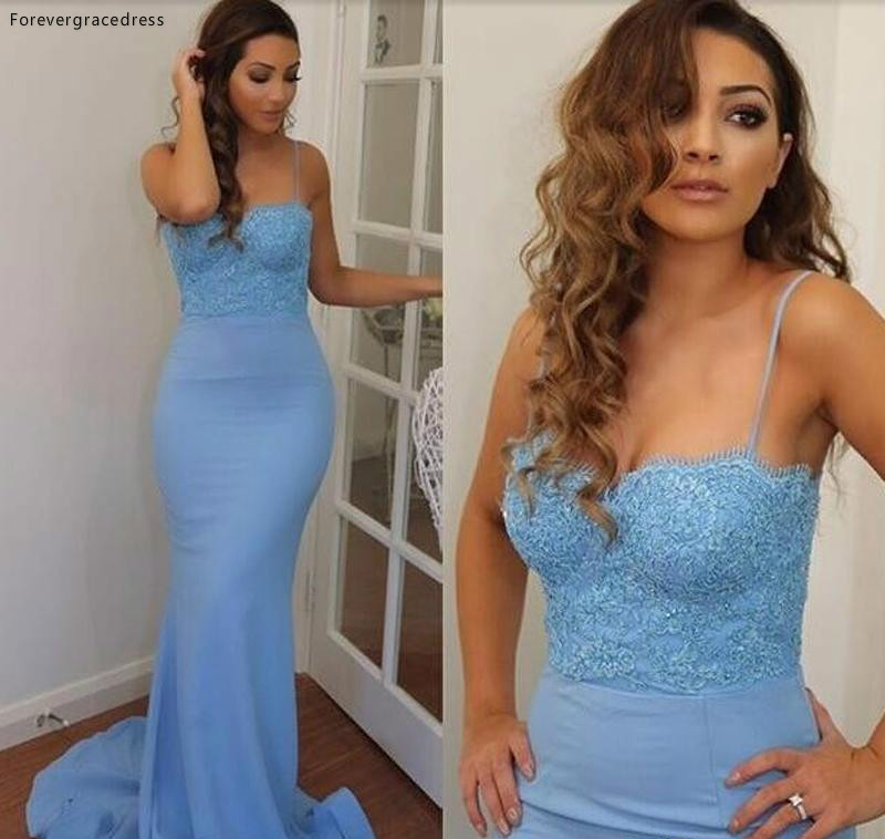 Light Blue Mermaid Long Prom Dress Spaghetti Straps Formal Holidays Wear Graduation Evening Party Pageant Gown Custom Made