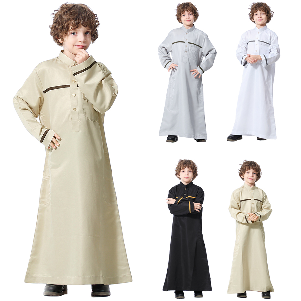 Muslim Arab Boy Robe Saudi Thobe Thoub Jubba Abaya Islamic Clothes Kaftan Dishdasha Long Sleeve Children Kids School Middle East