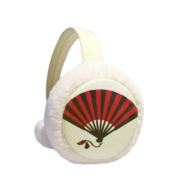 Japanese Red Black Fan Winter Earmuffs Ear Warmers Faux Fur Foldable Plush Outdoor Gift