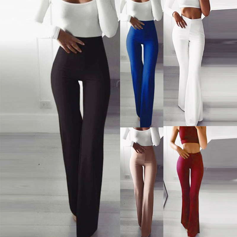 Women's High Waist Elasticity Bodycon Long Flare Pants Office Lady Trousers Autumn Winter Fashion Solid Female Bell-Bottoms
