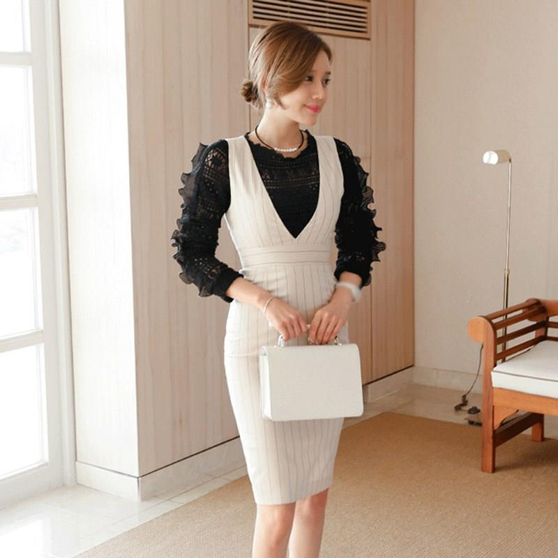 Work Striped Office Lady Dress Suits 2 Two Piece Sets Button Elegant Women Blazer Jacket And Sheath Dresses Suits Femme