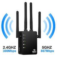 Repetidor de enrutador Wifi inalámbrico 300/1200 mbps 2,4G 5G de doble banda amplificador de señal Wifi amplificador de señal de red extensor de rango RJ45