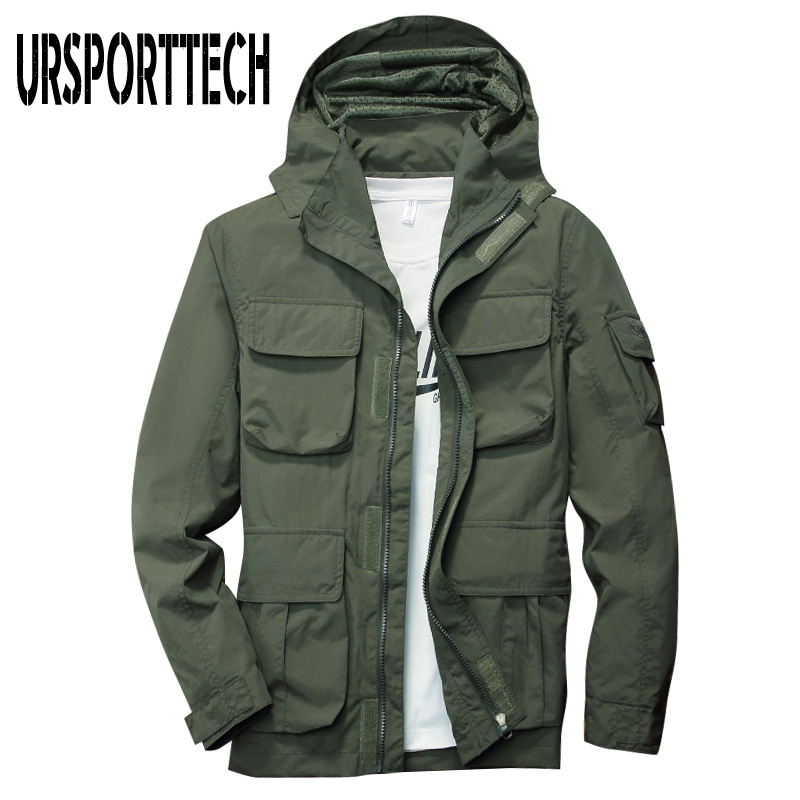 Spring Autumn Mens Jackets And Coats 2019 New Fashion Casual Breathable Cargo Windbreaker Jacket Male Hooded Thin Coat Plus Size