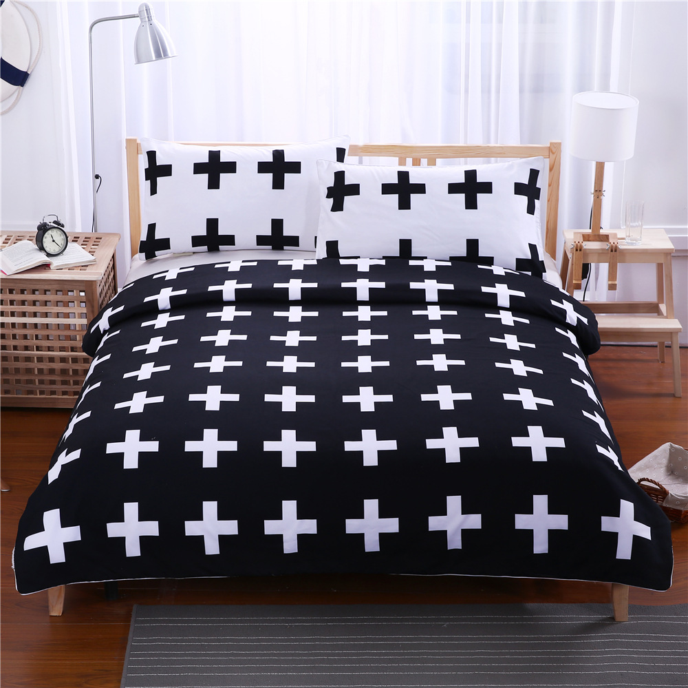 Black White Cross 3D Printed Bedding Set for Kids Cartoon Bed Cover Single Boys Duvet Cover Set Bedclothes