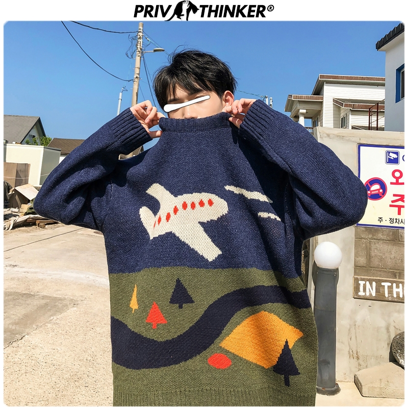 Privathinker Men Jacquard O-Neck Streetwear Fashion Sweaters Mens 2019 Autumn Winter Korean Pullovers Tops Male Knitted Sweater