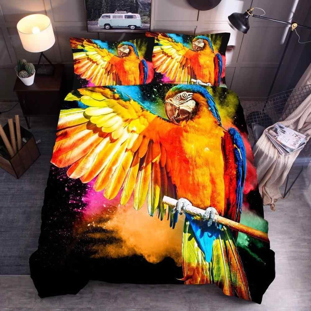 LOVINSUNSHINE סט מצעים 3d מודפס תוכי שמיכה מלך שמיכה כיסוי מלכת לילדים