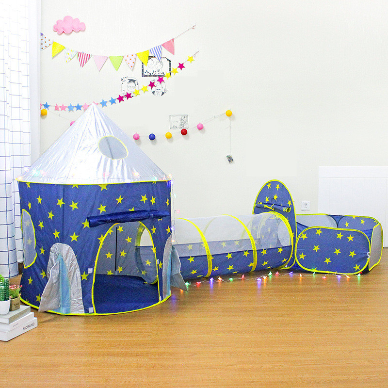 Play House Indoor And Outdoo Children's 3 In 1 Tent Spaceship Tent Space Yurt Tent Game House Rocket Ship Play Tent Ball Pool