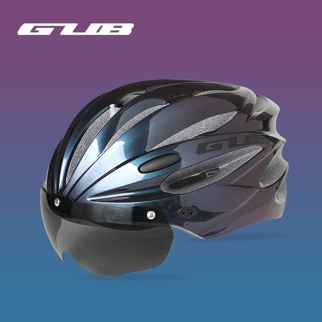 Gub k80 capacete de bicicleta com viseira óculos magnéticos mtb estrada bicicleta ciclismo capacete de segurança integralmente-moldado 58-62cm para homem feminino 3