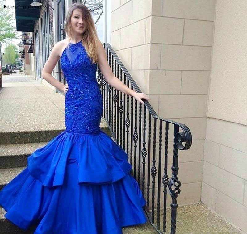 2019 Luxury Blue Color Jewel Sleeveless   Prom     Dress   Mermaid Ruffle Tiered Long Formal Holiday Wear Party Gown Custom Made