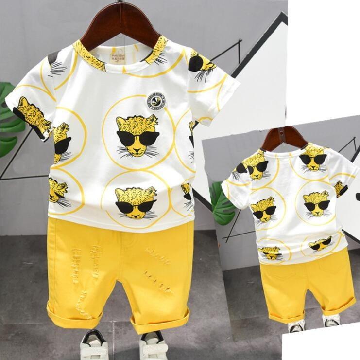 Offre spéciale vêtements de marque pour garçons | Ensemble t-shirt + pantalon, en coton, design de dessin animé, pour enfants de 2-6 ans