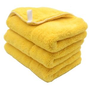 Image 4 - Chiffon de nettoyage de voiture en peluche, 3 pièces, 40cm x 30cm, 800g/m2, peluche Super épaisse, chiffon de nettoyage de voiture, lavage, cire, polissage, serviette de détail