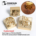 ZONESUN Логотип заказной латунной формы кожа дерево ПУ медь штамповки прессформы пластина для машины Горячая фольга штамп