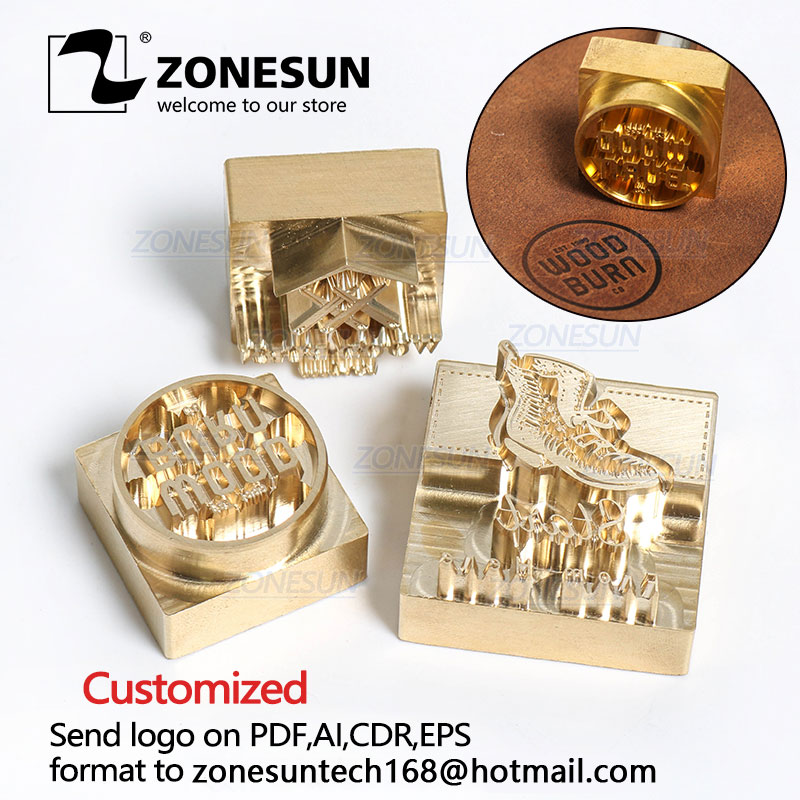 ZONESUN Logo Customized Brass Mold Leather Wood PU Copper Stamping Mold Plate For Machine Hot Foil Stamp