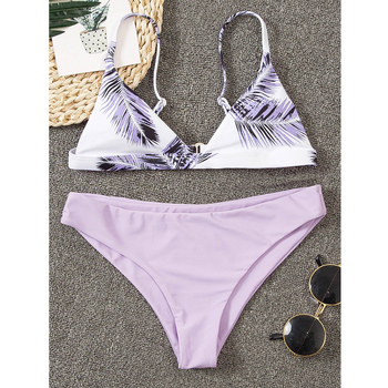 цена на Bandage Leaf Print Swimwear Women Brazilian Bikini Swimsuit Female Thong Bikini Set Bathing Suit Push Up Jungle Biquini Swimsuit