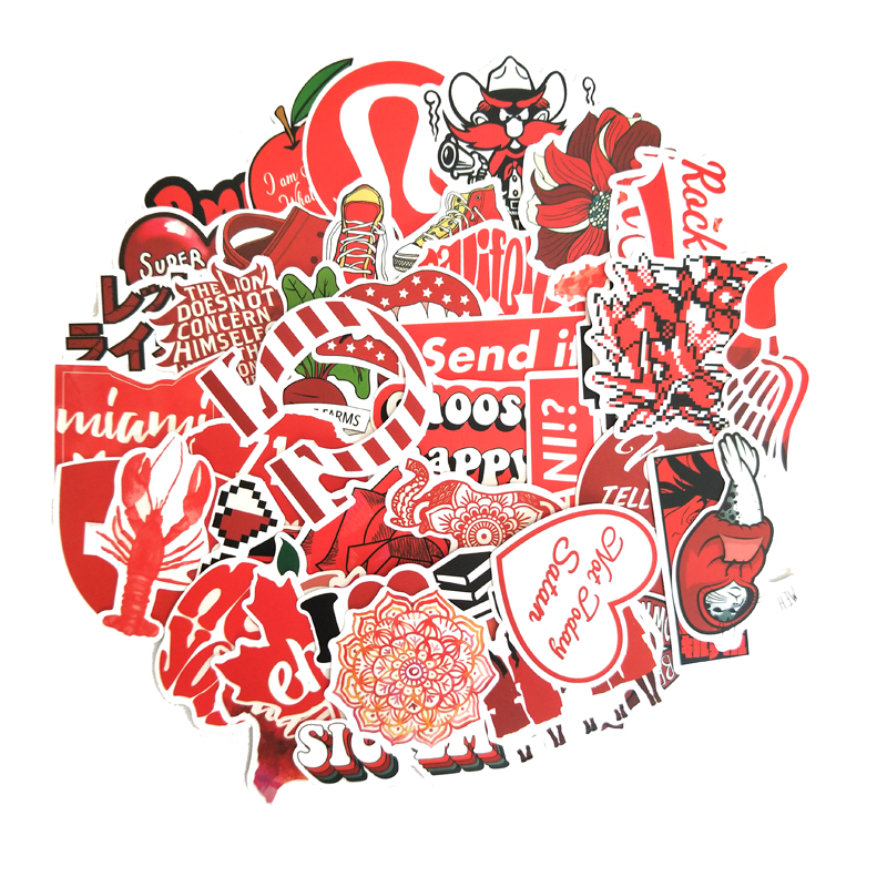 50PCS Cartoon Red INS Style Vsco Girl Stickers For Laptop Moto Skateboard Luggage Refrigerator Notebook Laptop Toy Sticker F5