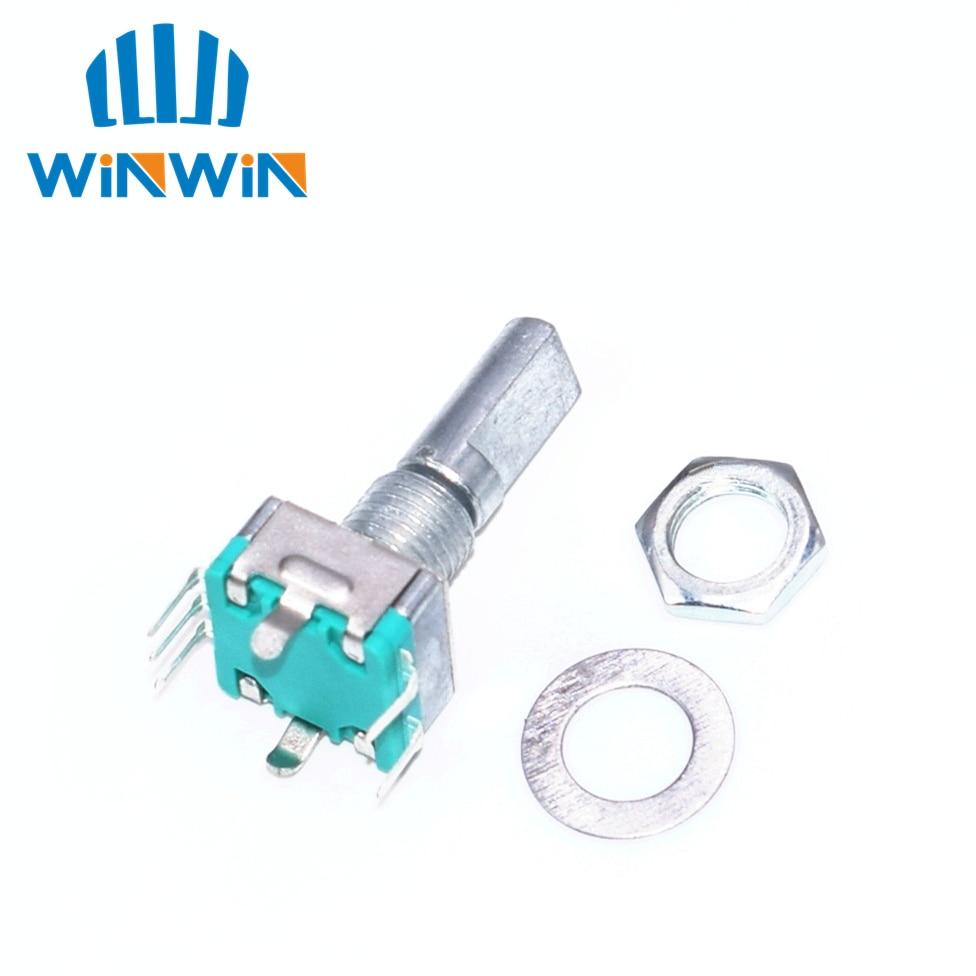Оригинальный, поворотный кодировщик, кодовый переключатель/EC11/аудио цифровой потенциометр, с переключателем, 5Pin, Длина ручки 20 мм