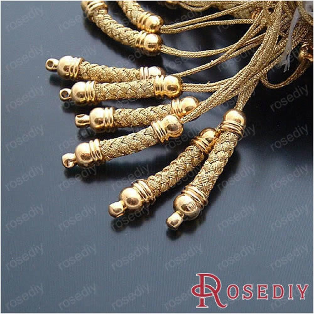 25*5 мм шнуры золотого цвета с медными выводами медь для мобильного вешалка для телефона 10 штук(JM5083