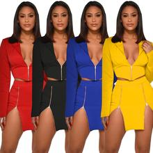 2 Piece Female Tracksuit Long Sleeve Crop Top And Skirt Set