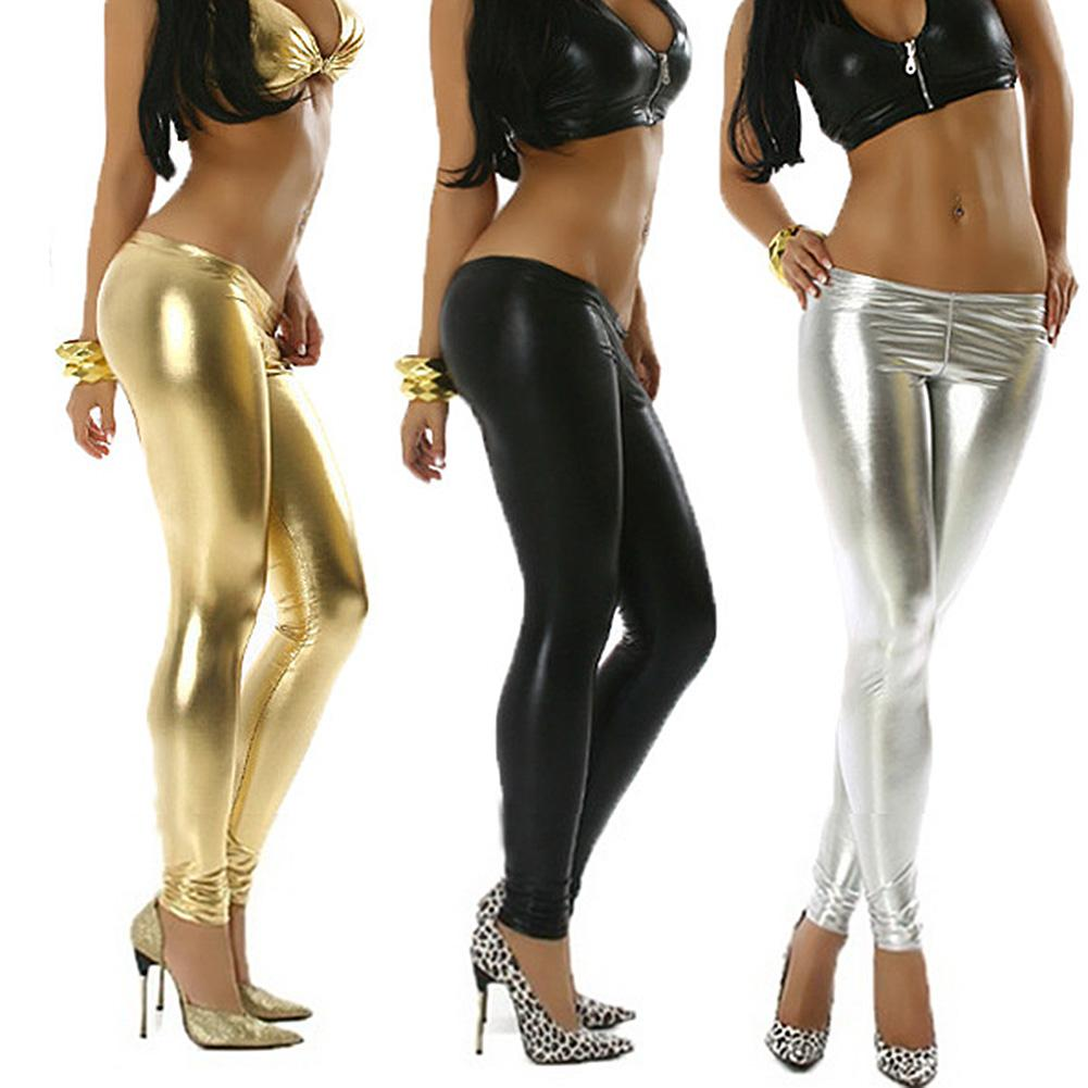New Sexy Women Faux Leather Solid Color  Waist Shinning Stretch Footless Leggings