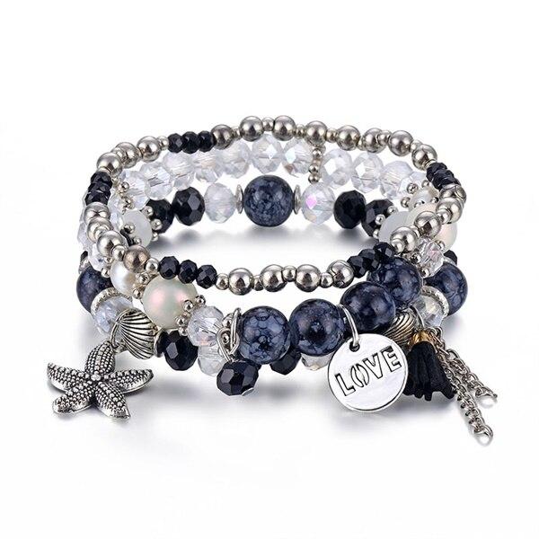 Классический Набор браслетов «Древо жизни» для женщин, многослойный винтажный браслет из натурального камня в виде листьев, браслеты и браслеты, ювелирные изделия, подарки - Окраска металла: 6585