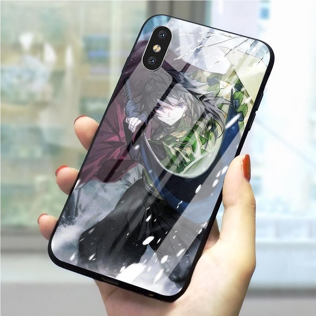 Demon Slayer Tomioka Giyuu Tempered Glass Case Cover for iPhone Models