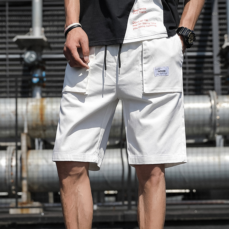 Plus Size Summer Cargo Shorts Men White Cotton Casual Shorts Male Loose Short Pants 5XL 6XL 7XL