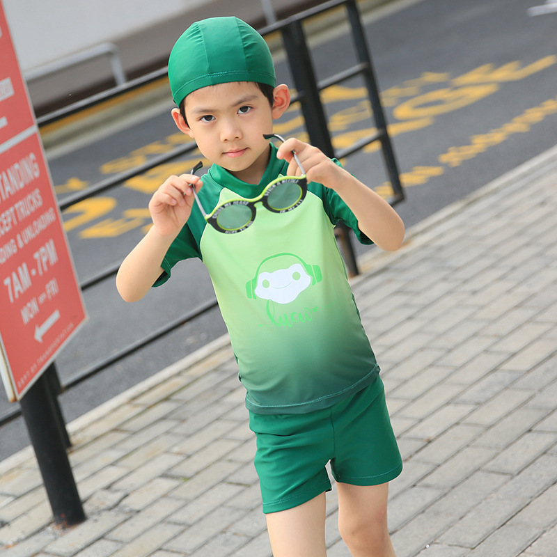 2018 New Style KID'S Swimwear Solid Color Cartoon Split Type Boxer With Swim Cap Middle And Large BOY'S Boy Bathing Suit 7290