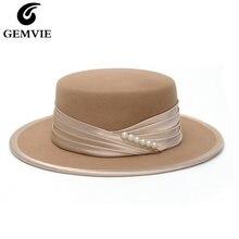 Женская фетровая шляпа в полоску с плоской короной из 100% шерсти