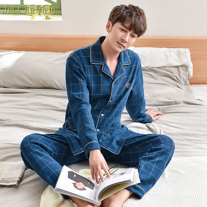 Men Sleepwear New Autumn Winter Luxury Men Home Clothing 100% Cotton Long Sleeve Royal Blue Plaid Pajamas Sleeping Suits For Men