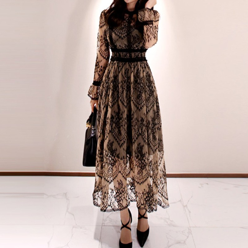 2020 Spring Elegant Sexy Dress For Women Vintage Lace Long Sleeve O-Neck Robe Femme OL Casual Slim Woman Party Long Dresses