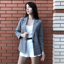 Casual Plaid Elegant Notched Blazer