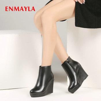 ENMAYLA 2020 Fashion Genuine Leather Round Toe Leather Boots Women Wedges Heels Basic Women Shoes Zip Winter Boots Women 34-40