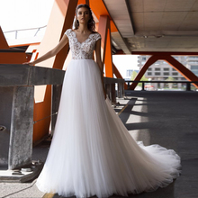 New Cap Sleeve V Neck Wedding Dress Bridal Gowns Delicate Lace Applique Flowy Tulle A-line Bride Dress Robe De Mariee mesh checkered flowy dress