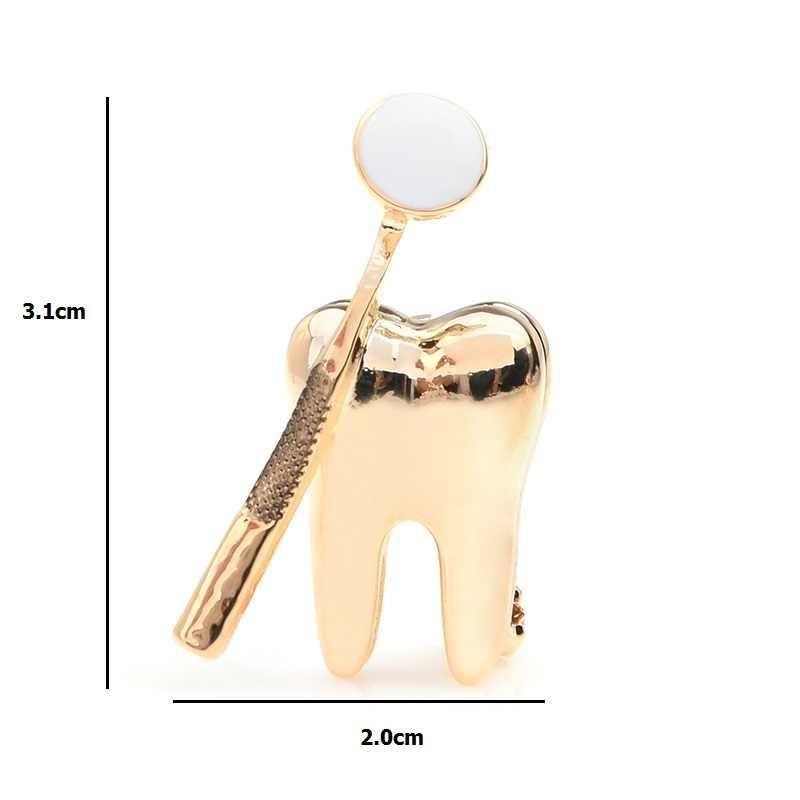 Wuli & bebê ouro prata cor espelho dental broches mulheres homem personalidade estilo médico dentista uniforme broche pinos presentes